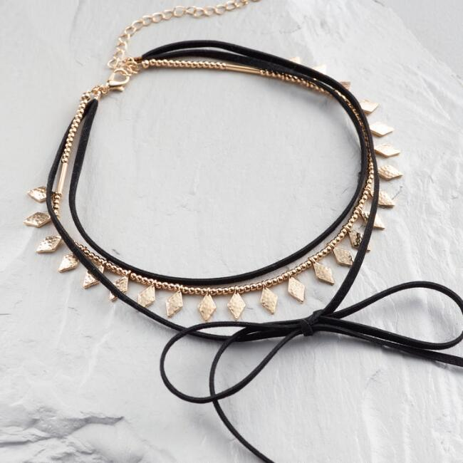 Gold and Black Suede Choker