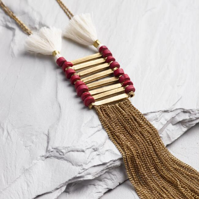 Long Gold Tassel Pendant Necklace