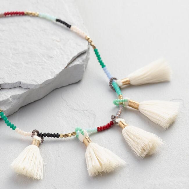 Multicolor Beaded Ivory Tassel Necklace