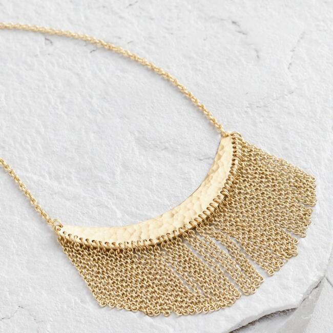Gold Fringe Crescent Hammered Pendant Necklace