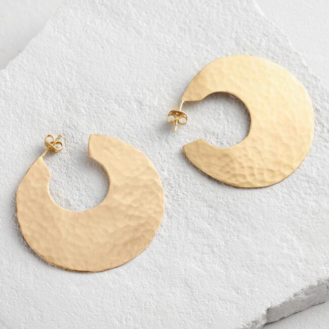 Large Gold Disk Hoops