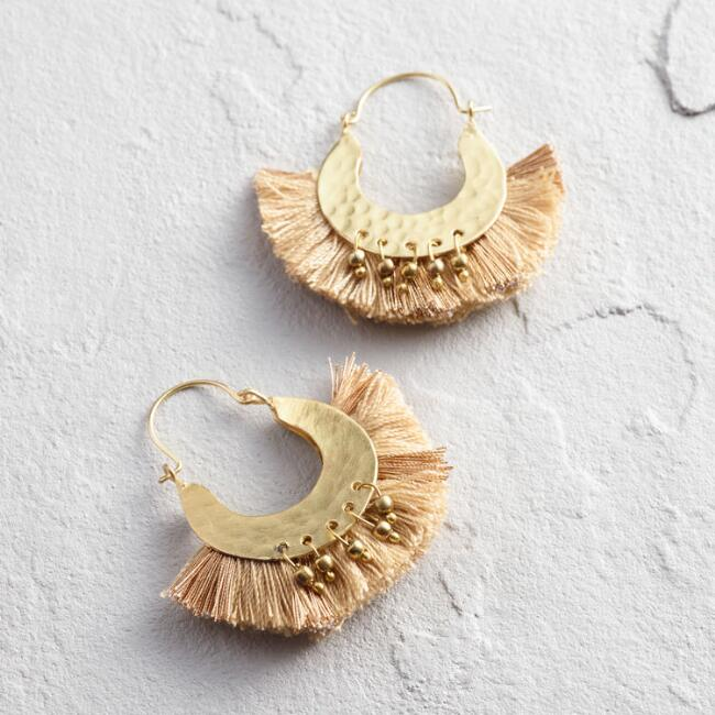 Gold Hoop with Tan Tassel Earrings
