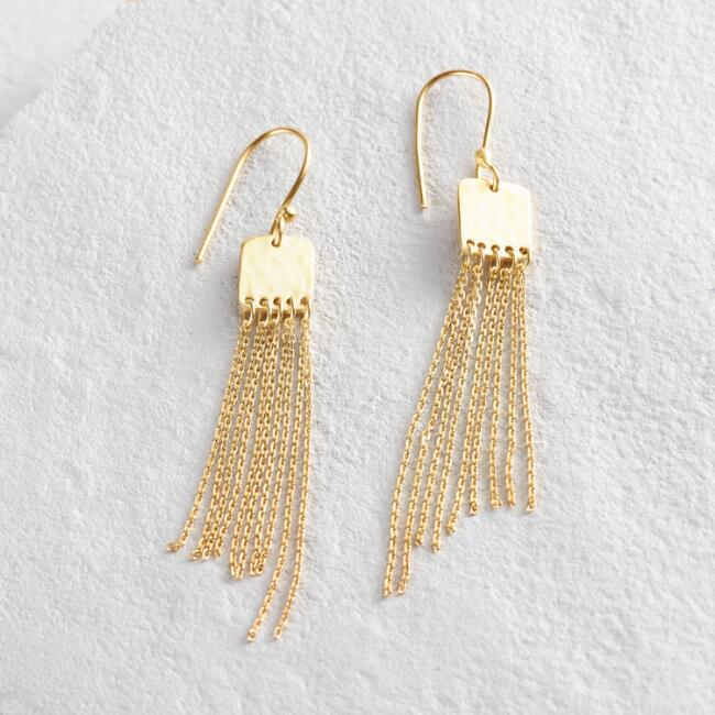 Gold Chain Fringe Dangle Earrings
