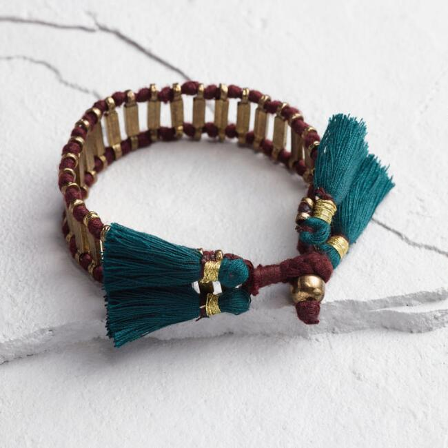 Gold Bar and Teal Tassel Bracelet