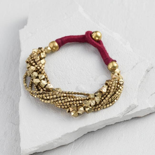 Multi Strand Gold Beaded Bracelet