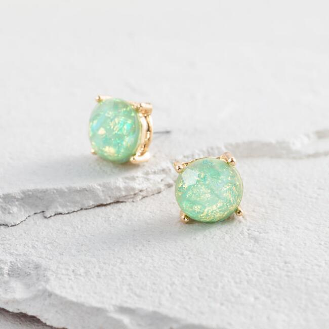 Gold Mint Opal Stud Earrings