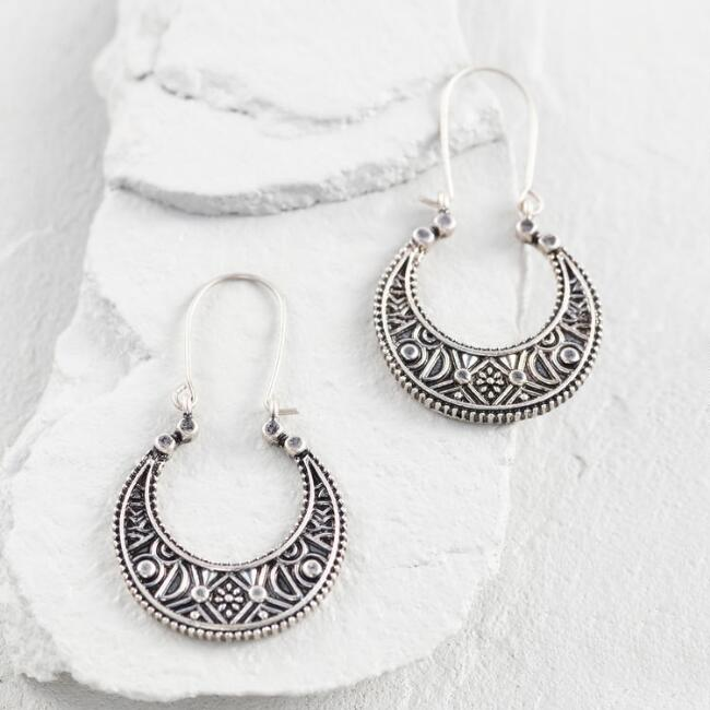 Silver Tribal Crescent Hoop Earrings