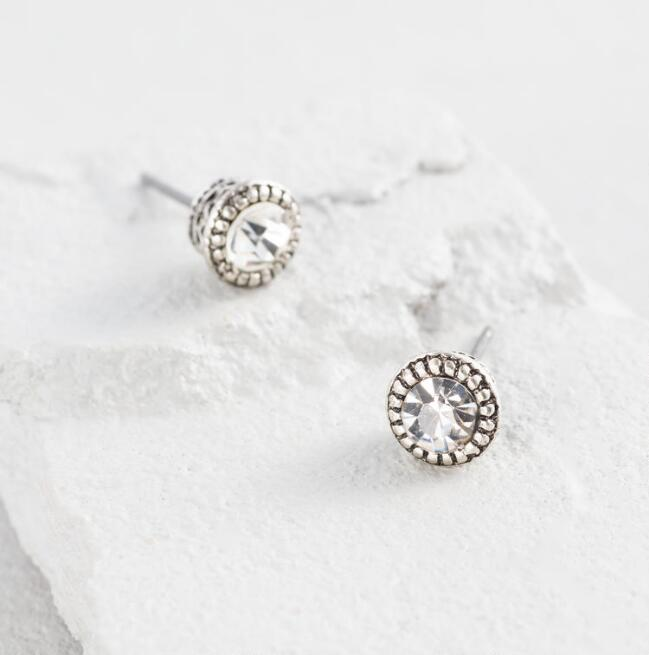 Silver Etched Stud Earrings