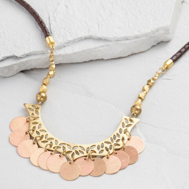 Antique Brass Disk and Leather Tribal Necklace