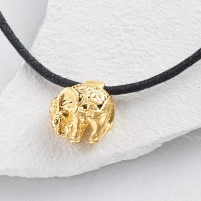Gold Royal Elephant Cord Necklace