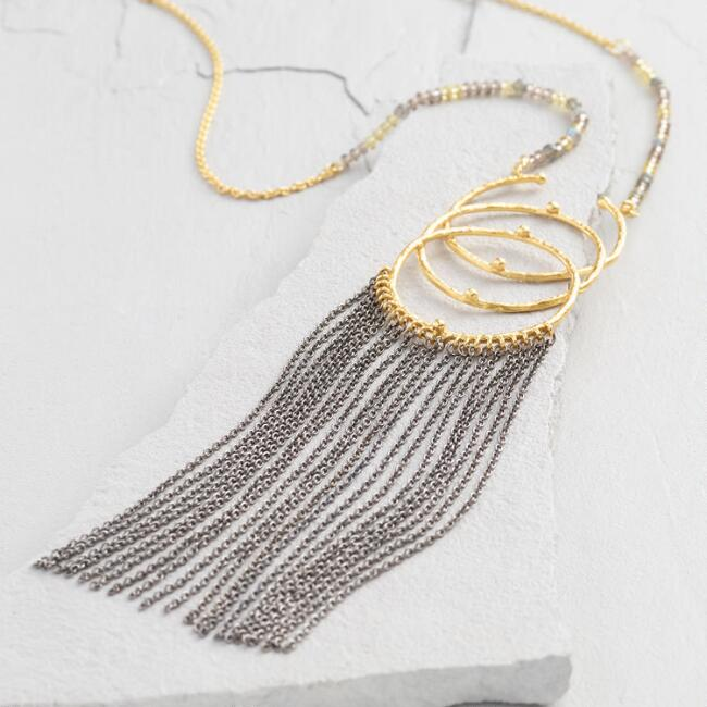 Gold and Gunmetal 3 Ring Pendant Necklace