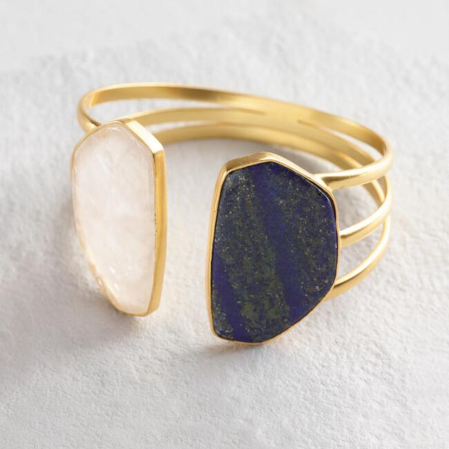 Gold Lapis and Moonstone Cuff