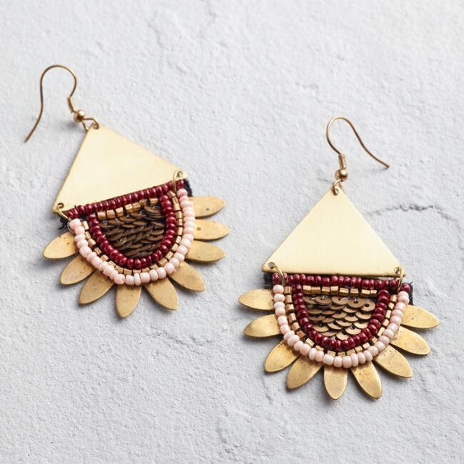 Gold and Wine Beaded Statement Earrings
