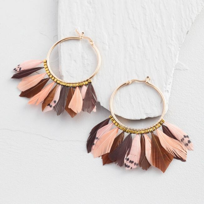 Gold and Pink Feather Hoop Earrings