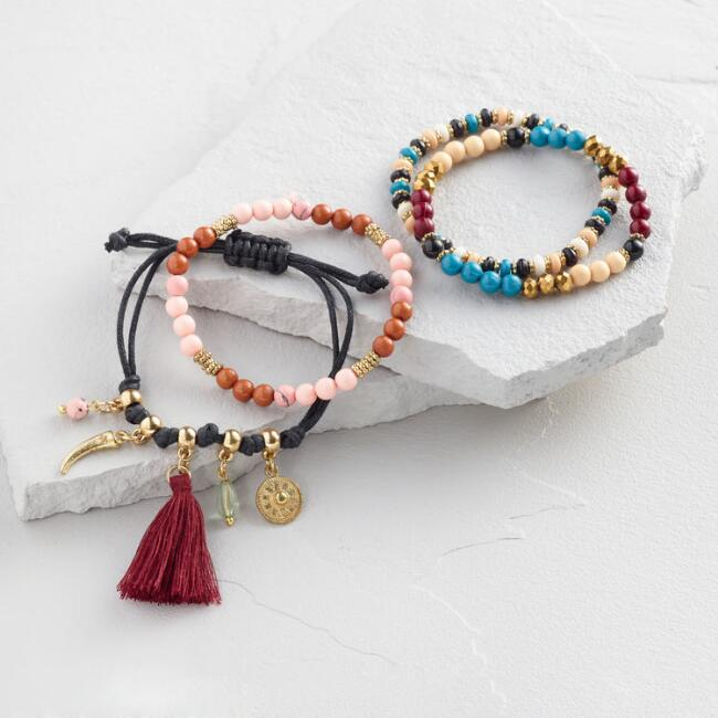 Multi Charm Stretch Bracelets Set of 4