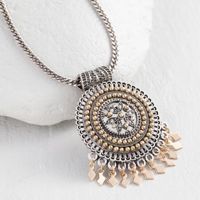 Silver and Gold Medallion Pendant Necklace