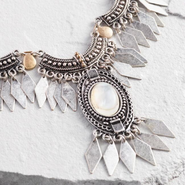 Silver and Gold Moonstone Tribal Statement Necklace