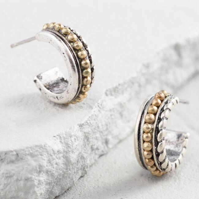 Silver and Gold Mini Hoop Earrings