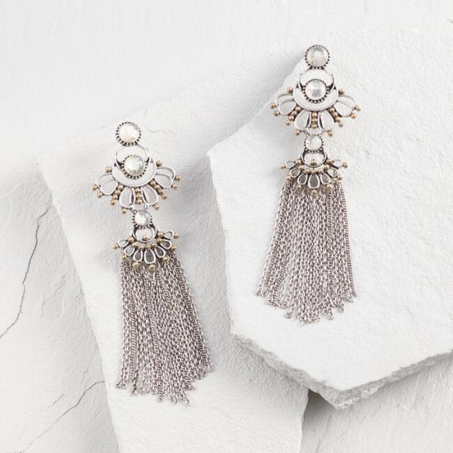 Silver Moonstone Chandelier Statement Earrings