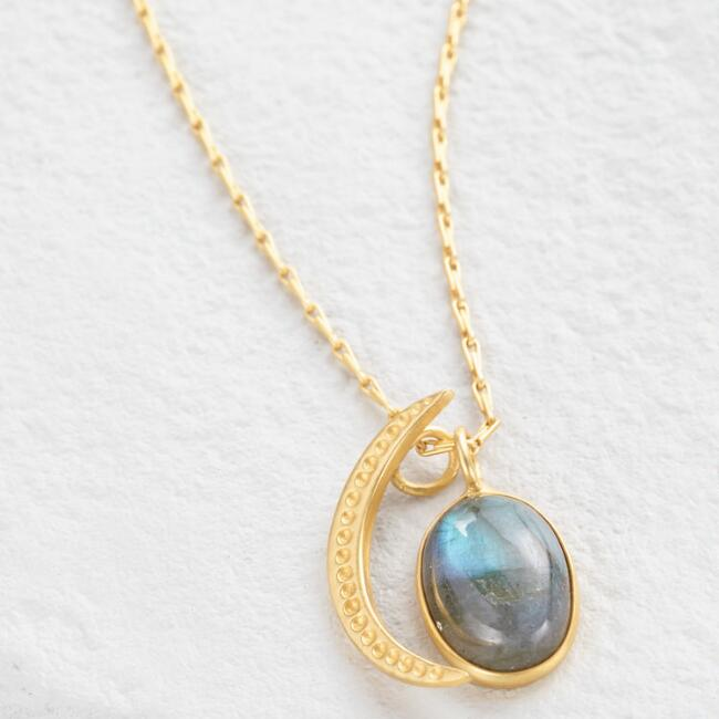 Gold Labradorite Moon and Star Pendant Necklace