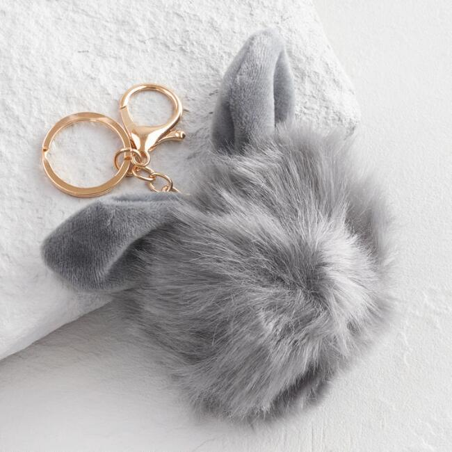 Gold and Gray Faux Fur Bunny Keychain