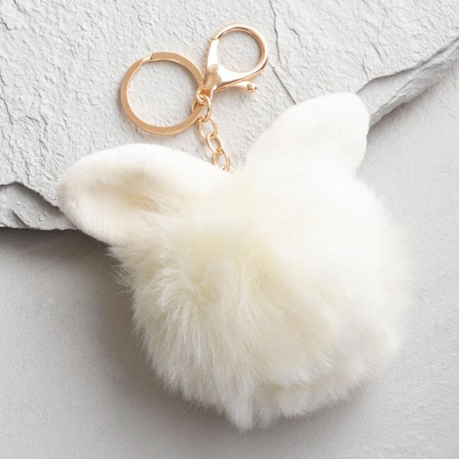 Gold and Ivory Faux Fur Bunny Key Chain