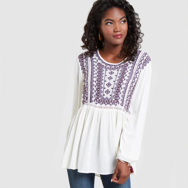 Purple and Ivory Embroidered Ari Top