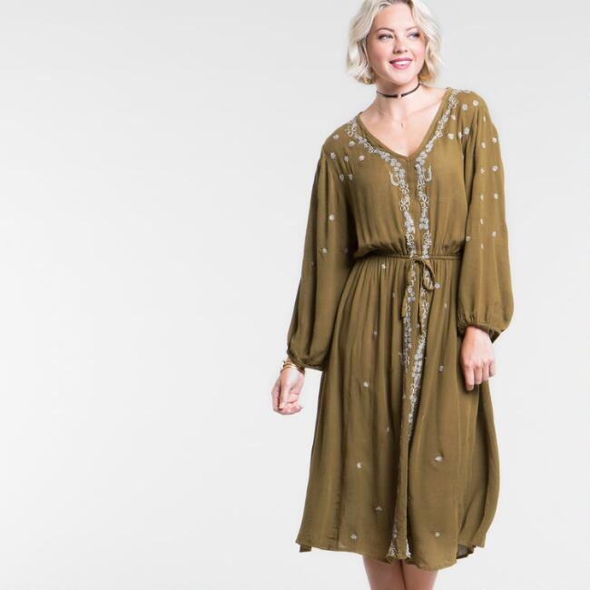 Olive Green Embroidered Milo Dress