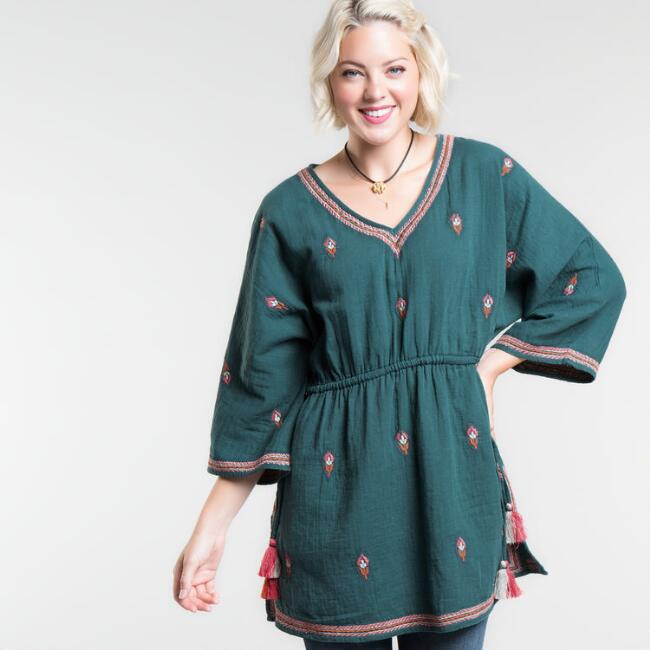 Teal Embroidered Riza Tunic