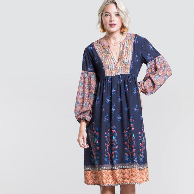 Blue Mixed Print Agnes Dress