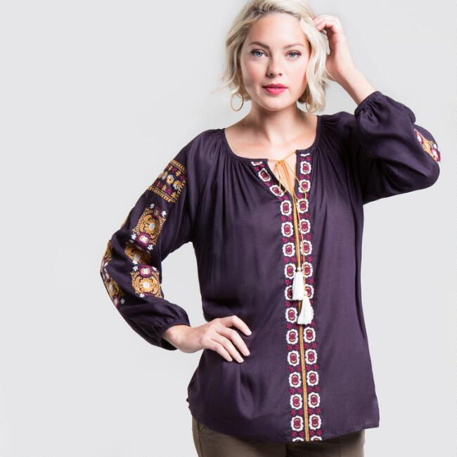 Purple Embroidered Darcy Top