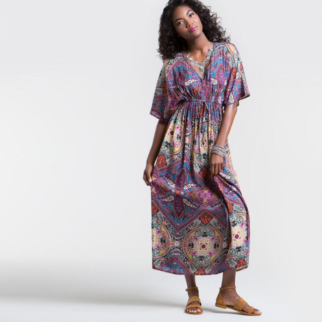 Multicolor Mira Maxi Kaftan Dress