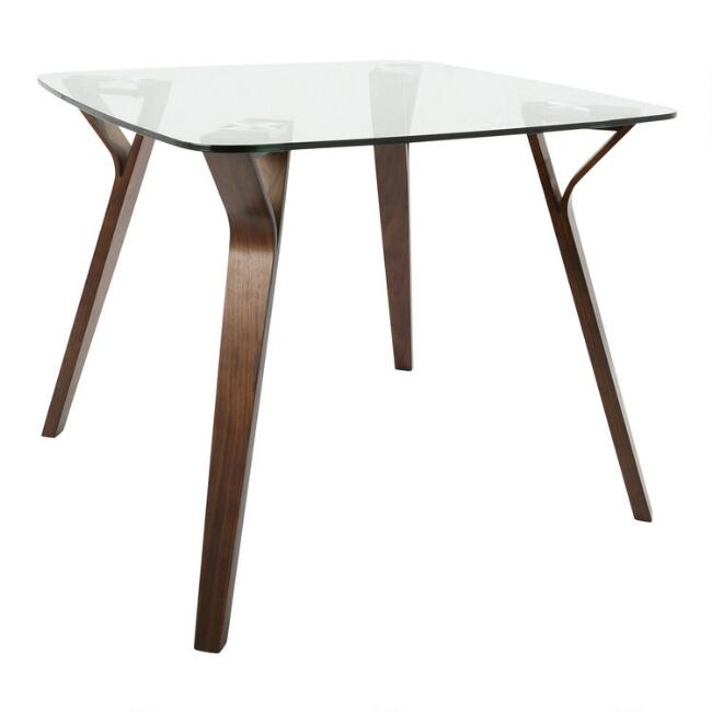 Glass and Wood Mid Century Joel Dining Table