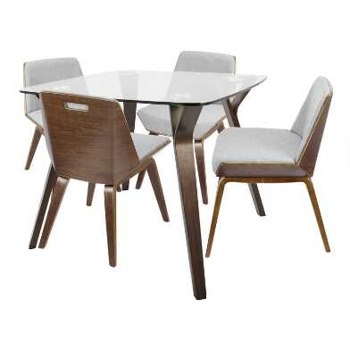 Glass And Wood Mid Century Joel Dining Collection