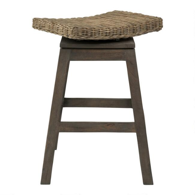 Rattan and Teak Leyla Swivel Counter Stool