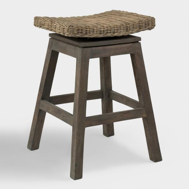 Graywash Wood Leyla Swivel Counter Stool