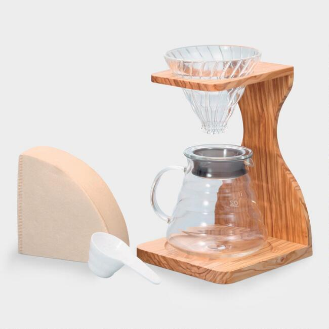 Hario V60 Olive Wood Stand Drip Coffee Set