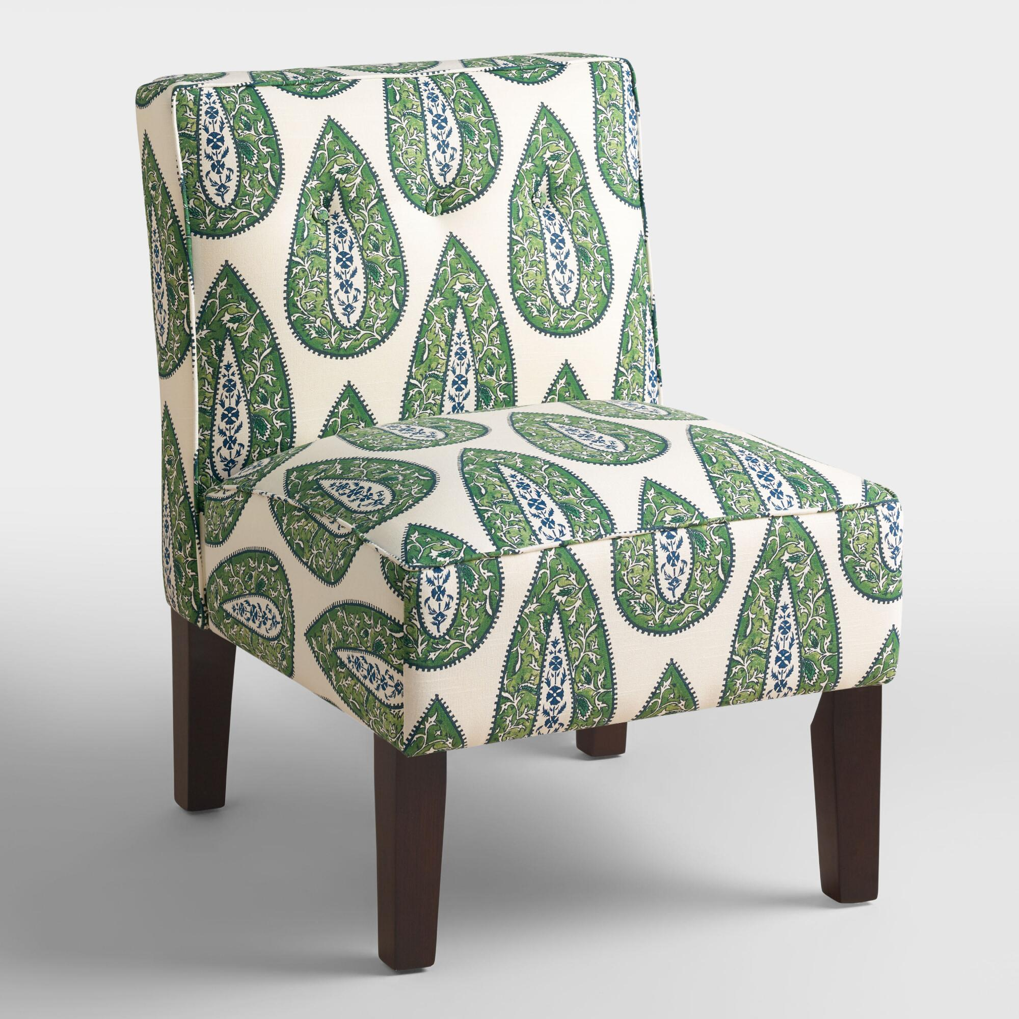 Bindi Randen Upholstered Chair with Wood Legs: Green - Fabric by World Market