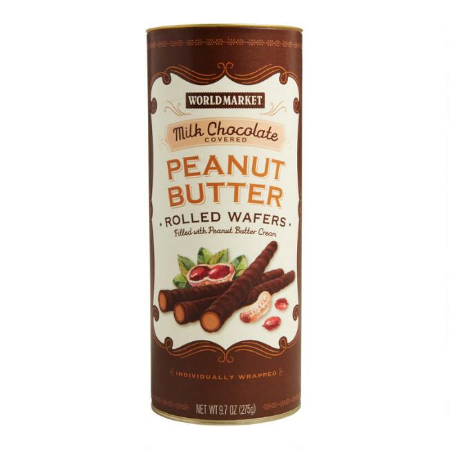 World Market® Milk Chocolate and Peanut Butter Rolled Wafers