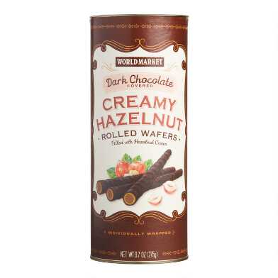 World Market® Dark Chocolate Hazelnut Cream Rolled Wafers