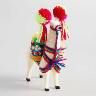 White Llama Figure with Pom Poms