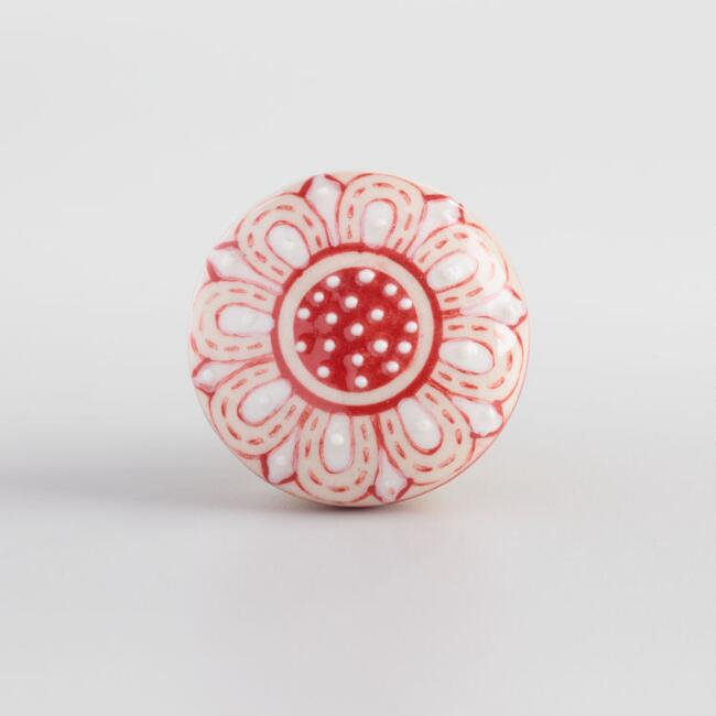 Red and White Floral Ceramic Knob
