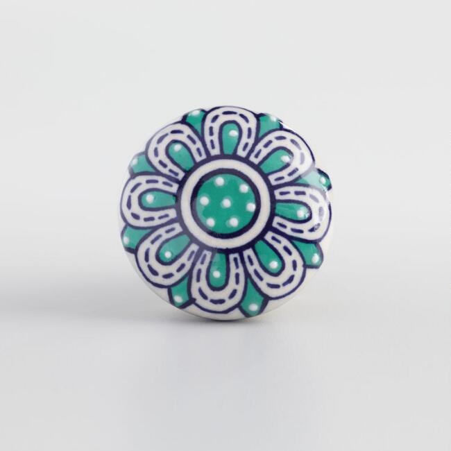 Teal and Blue Floral Ceramic Knob