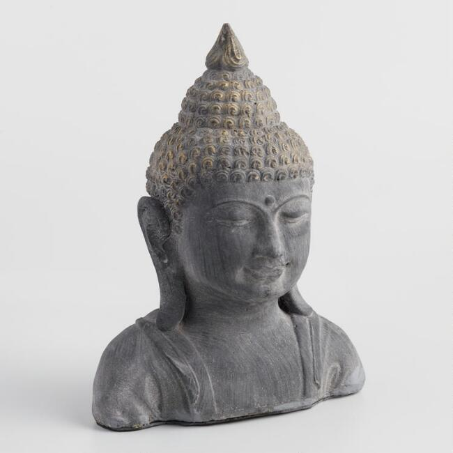 Gray Stone Buddha Head with Gold Dust Finish