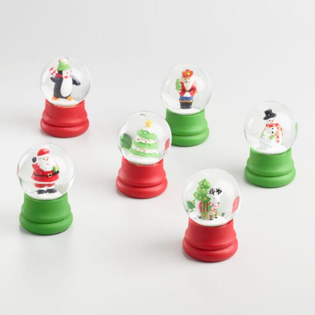 Mini Holiday Snow Globes Set of 6
