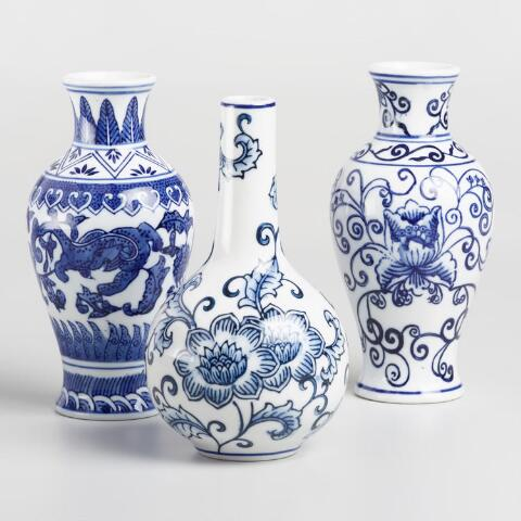 Blue And White Ceramic Ginger Jar Vases Set Of 3 World Market