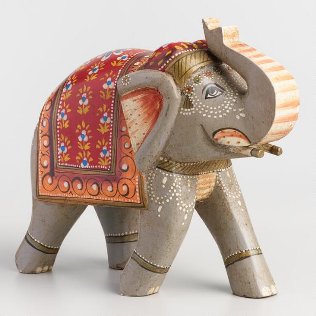 Gray Hand Painted Elephant Figure