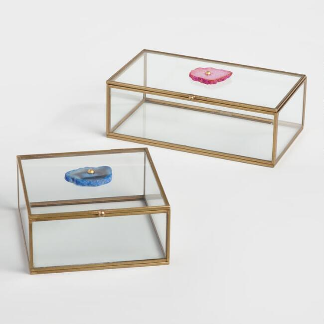 Glass and Agate Stone Boxes