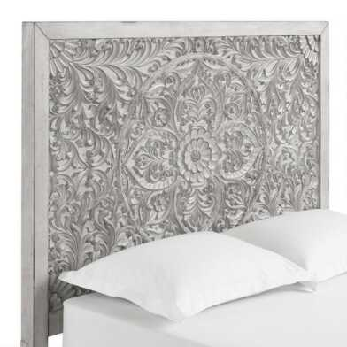 Gray Carved Mahogany Medallion Verena Headboard