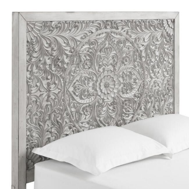 Gray Carved Mahogany Floral Medallion Verena Headboard